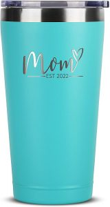 7. First Time Mom Gifts - Mom Est. 2022 16 oz Mint Tumbler