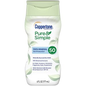 Coppertone Pure Simple Baby SPF 50 Sunscreen Lotion, Water Resistant, Pediatrician Recommended, Zinc Oxide Mineral Sunscreen Lotion, 6 Oz