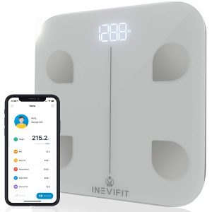 INEVIFIT Smart Body Fat Scale, Highly Accurate Bluetooth Digital Bathroom Body Composition Analyzer, Measures Weight, Body Fat, Water, Muscle, Visceral Fat & Bone Mass for Unlimited Users (Silver)